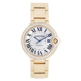 Cartier Ballon Bleu WE9004Z3 18K Yellow Gold wDiamond Silver Dial Automatic 36mm Unisex Watch