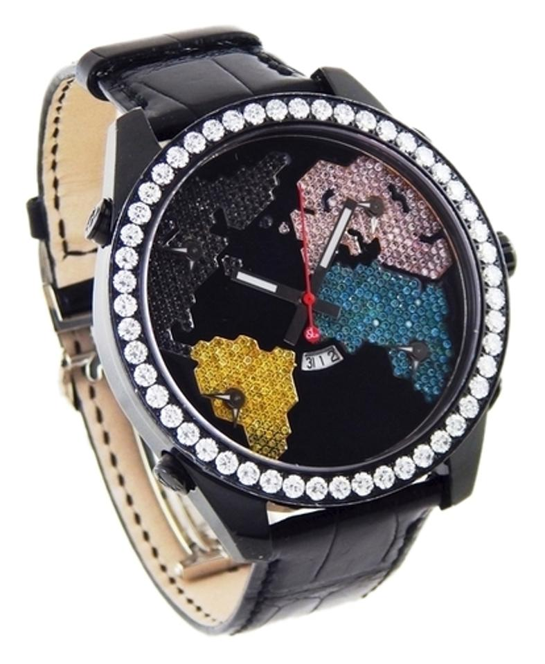 "Image of ""Jacob & Co. 5 Time Zone Diamond The World is Yours Black PVD & Leather"""