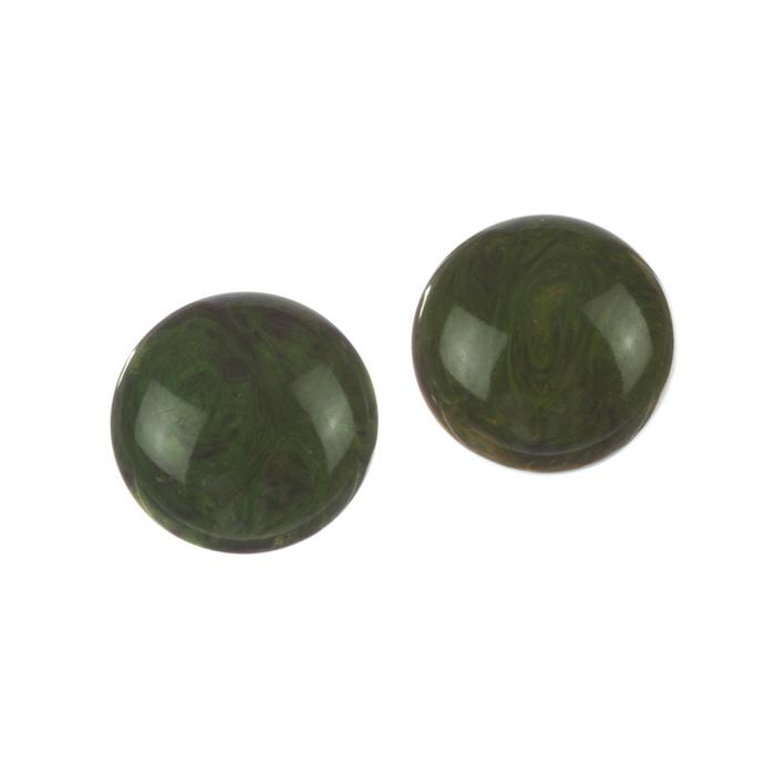"Image of ""Green Swirl Bakelite Round Earrings"""