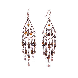 Sterling Silver Tiger Eye Chandelier Earrings