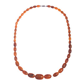 Orange Bakelite Faux Amber Bead Necklace
