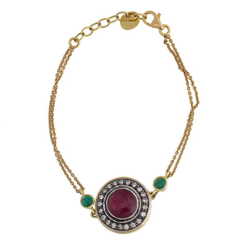 "Image of ""Amrapali 18k Yellow Gold Diamond and Synthetic Ruby Bracelet"""