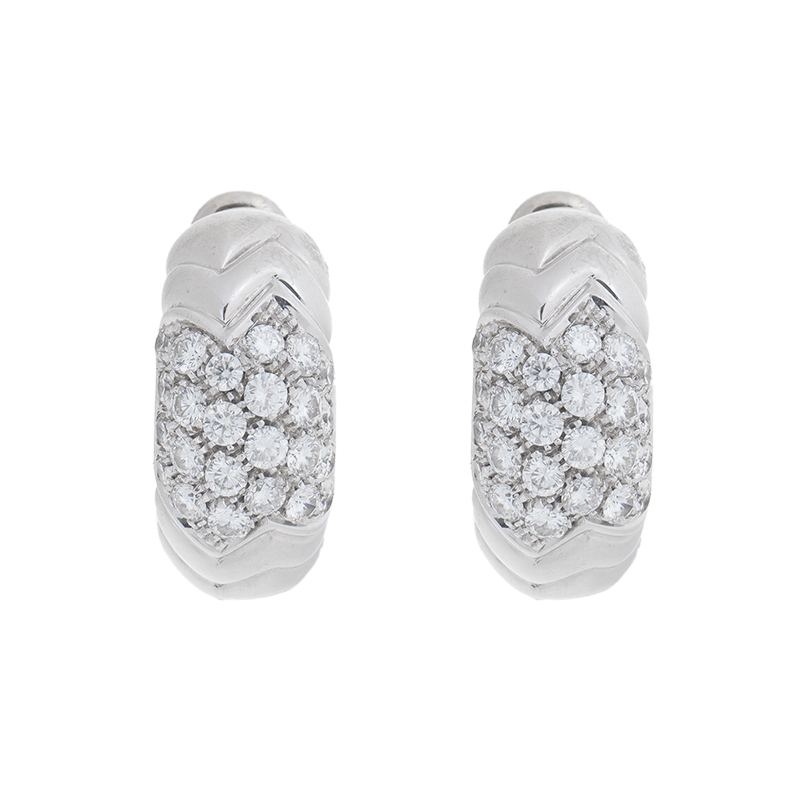 "Image of ""Bvlgari 18K White Gold Paved 2.00 Ct Diamond Spiga Huggie Earrings"""