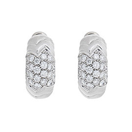 Bvlgari 18K White Gold Paved 2.00 Ct Diamond Spiga Huggie Earrings