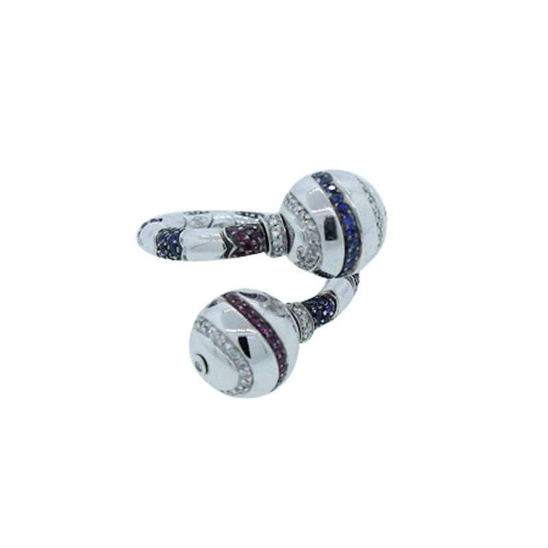 "Image of ""Enigma by Bulgari 18K White Gold Diamond Ruby & Sapphire Ring"""