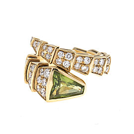 Bulgari 18k Yellow Gold Serpenti Diamond and Peridot Ring Size Small