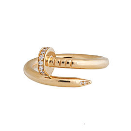 Cartier Juste Un Cloue 18K Yellow Gold 0.13 Ct Diamond Ring Size 6.75