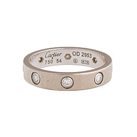 Cartier Mini Love 18K White Gold Diamond Ring Size 6.75