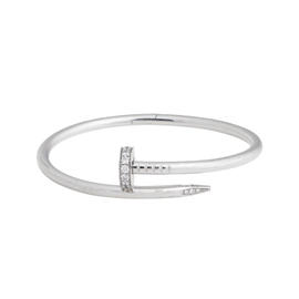 Cartier Juste un Clou 18K White Gold 0.54 Ct Diamond Bracelet Size 16
