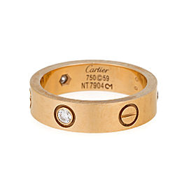 Cartier Love 18K Yellow Gold Three Diamond Ring Size 8.75