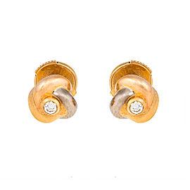 Cartier 18K Trinity Gold 0.04ct. Diamond Knot Stud Earrings