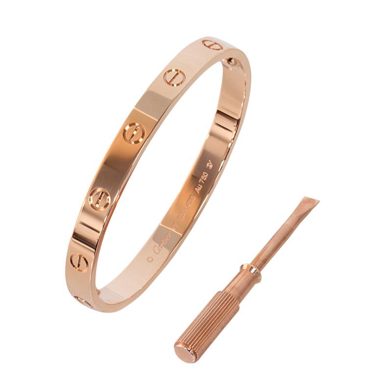 """Image of """"Cartier Love B6035617 18k Rose Gold Bracelet Size 20"""""""
