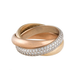 Cartier Trinity 18K Yellow White and Rose Gold 0.99ct. Diamond Ring Size 6.25