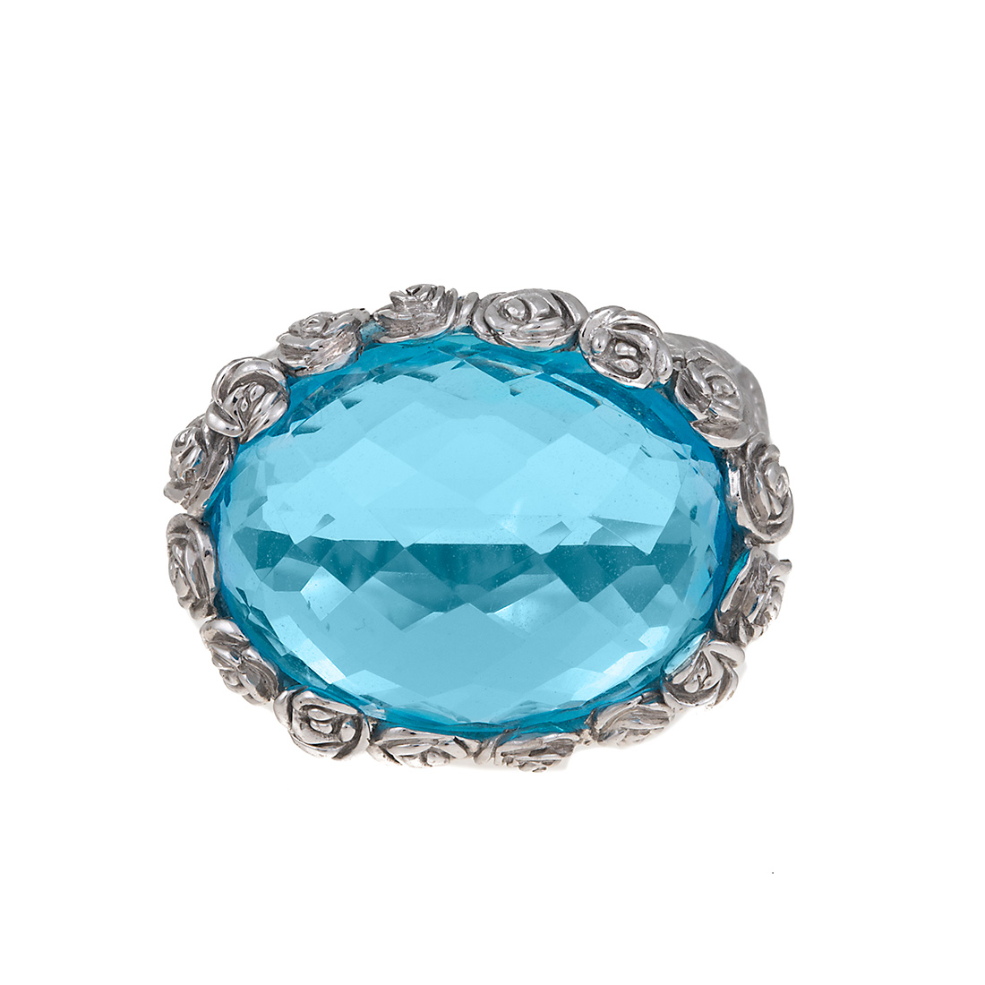 "Image of ""18K White Gold Carrera y Carrera Blue Topaz Ring Size 6.5"""