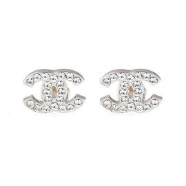 Chanel Logo CC 0.925 Sterling Silver Rhinestones Clip On Earrings