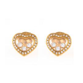 Chopard Happy Diamonds 18K Yellow Gold Icon Heart Stud Earrings