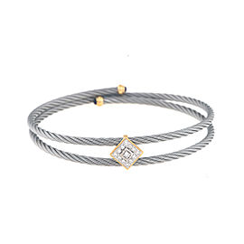 Charriol 18K Yellow Gold 0.20ct. Diamond and Amethyst Cable Bracelet