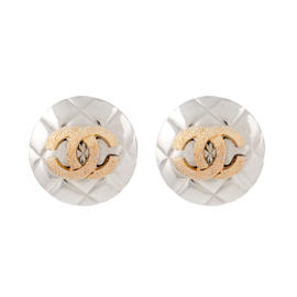Chanel Silver and Gold Tone Shield Clip On Earrings
