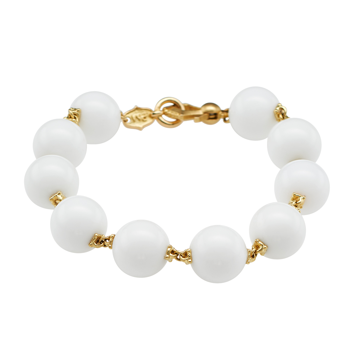 "Image of ""Paul Morelli 18K Yellow Gold Prayer Bead Bracelet White Agate 12mm"""
