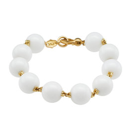 Paul Morelli 18K Yellow Gold Prayer Bead Bracelet White Agate 12mm