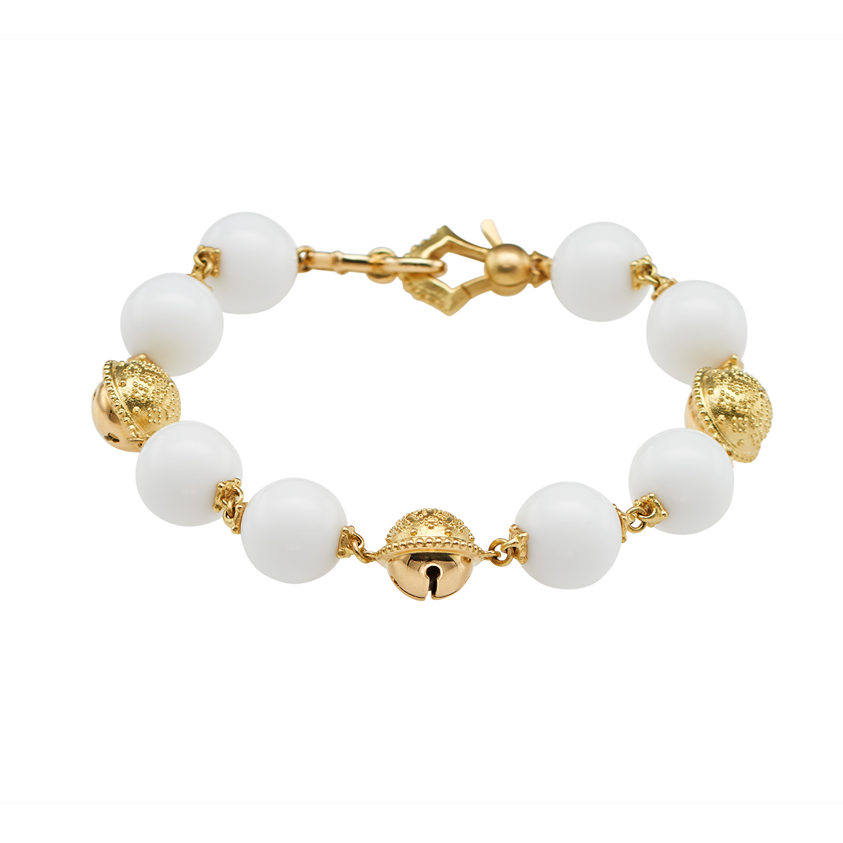 "Image of ""Paul Morelli 18K Yellow gold Prayer Bead Bracelet White Agate W/bells"""