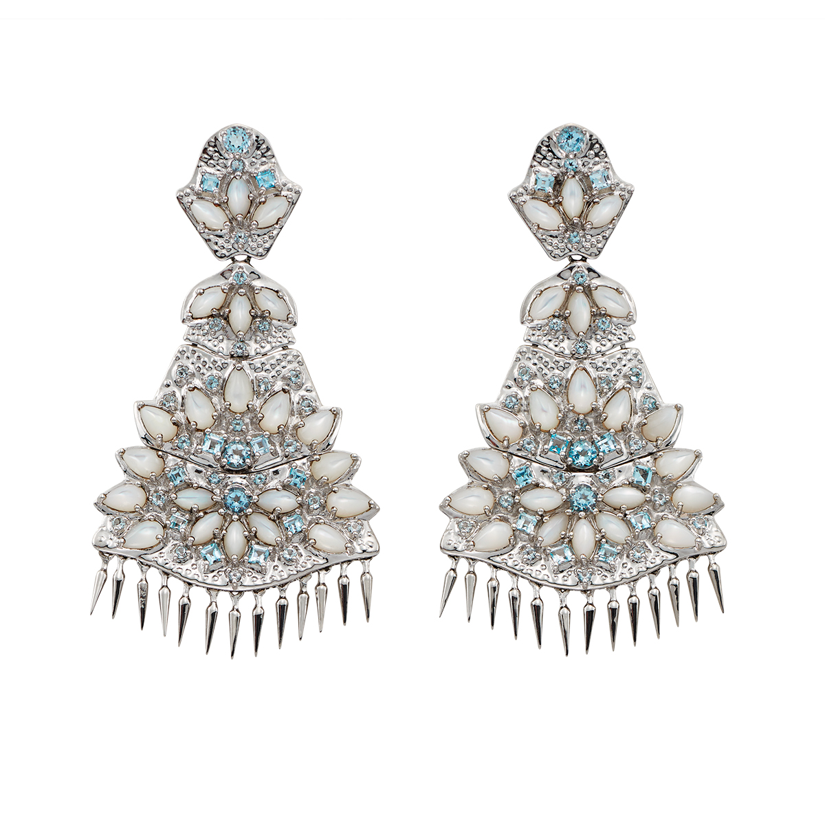 "Image of ""Paul Morelli Ss Applique Quad Dangle Mop Blue Topas Earrings"""