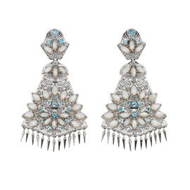 Paul Morelli Ss Applique Quad Dangle Mop Blue Topas Earrings