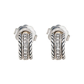 David Yurman Sterling Silver and 0.20ct Diamond Cable Classics Earrings