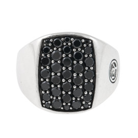 David Yurman Sterling Silver Black Diamond Ring Size 6