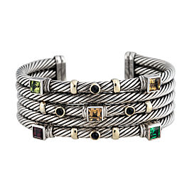 David Yurman Sterling Silver and 14K Yellow Gold Multi Gem Stones Renaissance Cuff Bracelet