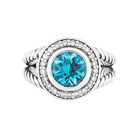 David Yurman Sterling Silver Blue Topaz & 0.35ct Diamond Albion Ring Size 6.25
