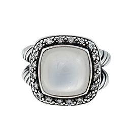 David Yurman Sterling Silver Metallic Albion With Moon Quartz & 0.30ct. Diamonds Ring Size 5
