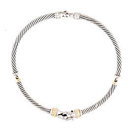 David Yurman 18K Yellow Gold and Silver 0.25ct. Diamond Choker Necklace