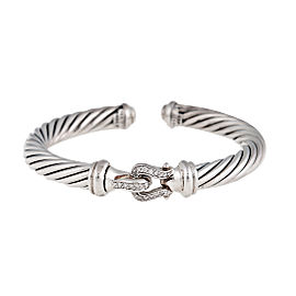David Yurman Sterling SIlver With 0.18ct. Diamond Buckle Cable Cuff Bracelet