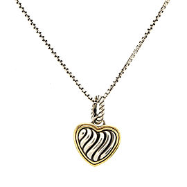 David Yurman Two Tone Heart Necklace