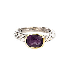David Yurman 14K Yellow Gold and Sterling Silver Checker Board Amethyst Ring Size 5