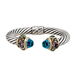 David Yurman Sterling Silver and 14K Yellow Gold with Blue Topaz, Peridot and Pink Tourmaline Renaissance Bracelet
