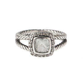 David Yurman Petite Albion Sterling Silver Prasiolite and 0.10 Ct Diamond Ring