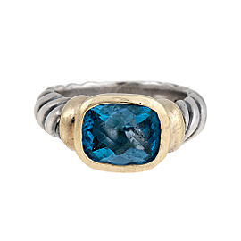 David Yurman Sterling Silver and 14K Yellow Gold Noblesse Blue Topaz Ring Size 6