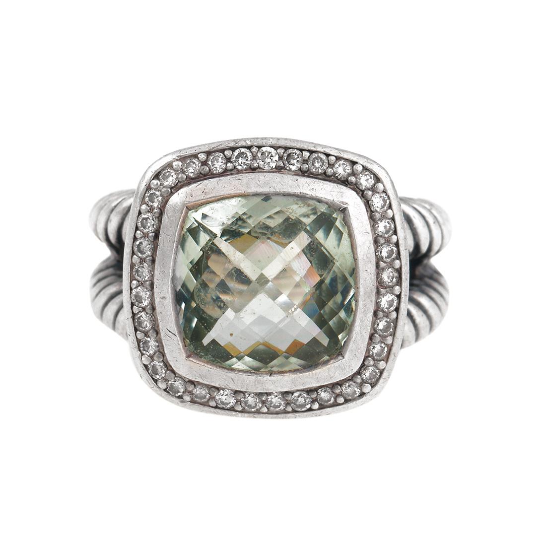 "Image of ""David Yurmam Prasiolite and 0.22ct Diamond Albion Ring Size 6"""