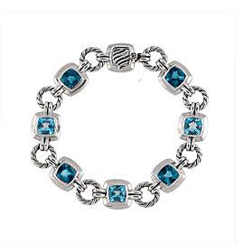 David Yurman Sterling SIlver Blue Topaz Renaissance Bracelet