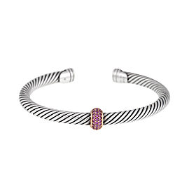 David Yurman Sterling Silver and 18K Rose Gold Pink Sapphire Cable Bracelet