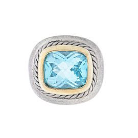 David Yurman Two Tone Aquamarine Ring Size 4.5
