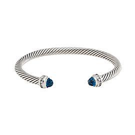 David Yurman Hampton Blue Topaz and Diamonds Cable Classics Bracelet