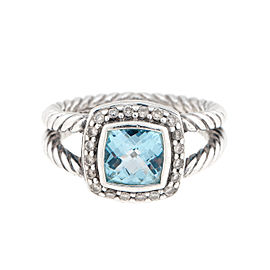 David Yurman Sterling Silver Blue Topaz and 0.10ct. Diamond Albion Ring Size 5.5