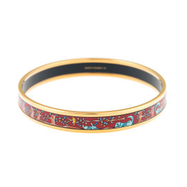 Hermes Gold Tone Printed Enamel Bangle Bracelet