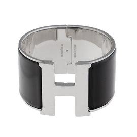 Hermes H Clic-Clac Silver-Tone Black Enamel Cuff Bracelet