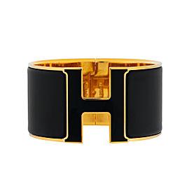 Hermes 'H' Clic Clac Black Enamel Wide Cuff