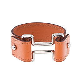 Hermes Orange Leather Cuff