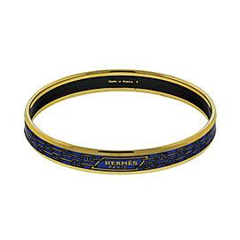 Hermes Printed Enemal Blue Links Gold Tone Cuff